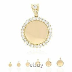 10K Yellow Gold Created Diamond Gated Back Picture Memory Medallion Pendant