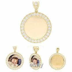 14K Yellow Gold Created Diamond Picture Memory Frame Medallion Pendant 24mm-50mm