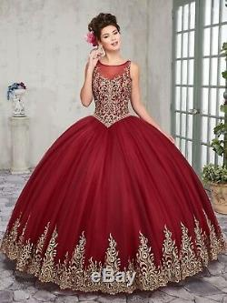 2019 Lace Tulle Quinceanera Ball Gown Formal Pageant Prom Party Wedding Dresses