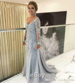 2019 Plus Size Mother Of The Bride Dresses V Neck Long Sleeves Lace Evening Gown