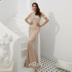 2019 Sexy Crystal Halter Celebrity Evening Dress Pageant Mermaid Party Prom Gown