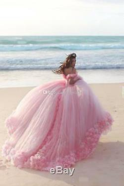 3D Flowers Tulle Quinceanera Ball Gown Princess Pageant party Wedding Dresses