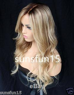 7A European Remy Human Hair Wig Balayage Blonde Full Lace Wig Lace Front Wig