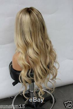 7A European Remy Human Hair Wig Wavy Ombre Blonde Full Lace Wig Lace Front Wig