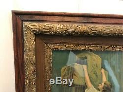 Antique Framed Religious Art Print Picture Rock Of Ages Woman in Waves Victorian