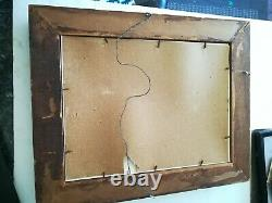 Antique Gold Tone Carved Bubble Glass Picture Frame/Woman with very long hair