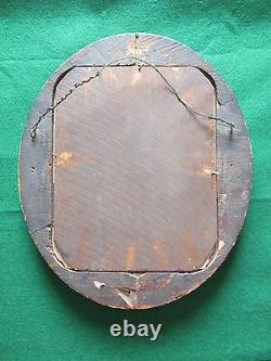Antique Oval Wood Picture Frame w Old Glass & Old Photograph of A Woman