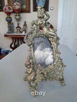 Antique Victorian Brass Metal Picture Frame with Picture Young Woman and Baby