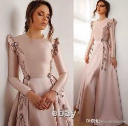 Beaded Long Sleeve Satin Prom Dresses Women's Party Pageant Formal Evening Gowns