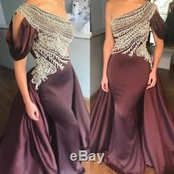 Beaded One Shoulder Evening Dress Sexy Mermaid pageant Party Celebrity Prom Gown
