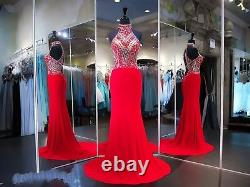 Beads Halter Mermaid Evening Dress Chiffon Long Cocktail Pageant Party Prom Gown