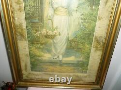 Beautiful Antique Yard Long Style Picture Print Of Victorian Lady In Rose Garden