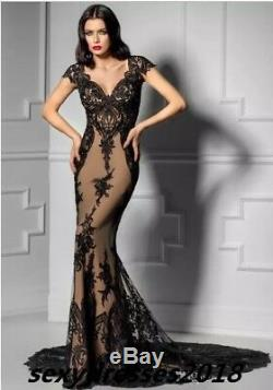 Black Lace Mermaid Evening Dress Sexy Celebrity Party Pageant Cocktail Prom Gown