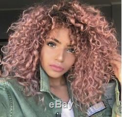Brazilian 100% Remy Human Hair Wig Ombre Pink Curly Full Lace Wig Lace Front Wig