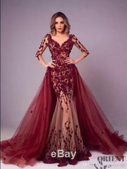 Burgundy Lace Mermaid Celebrity Prom Evening Dress Detachable Pageant Party Gown