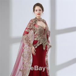 Burgundy Long Sleeve Mermaid Formal Evening Gowns Party Prom Dresses With Cape