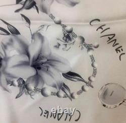 CHANEL %100 Silk Twill Chanel No. 5 Picture Scarf (Big Size) Authentic