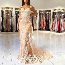 Champagne Lace Appliques Mermaid Evening Dresses Formal Long Prom Party Gowns