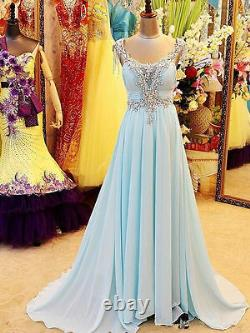 Chiffon Crystal Long Prom Formal Dresses Backless Party Pageant Gowns Custom