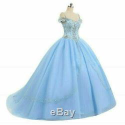Cinderella Blue Off Shoulder Quinceanera Dresses Beaded Puffy Sweet 16 Prom Gown