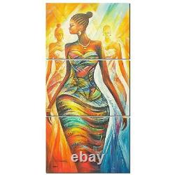Colorful African Woman Framed 3 Piece Abstract Canvas Wall Art Image Picture Wal