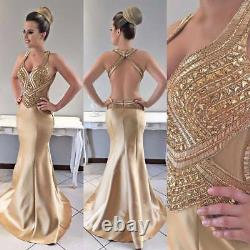Crystal Gold Satin Mermaid Cocktail Evening Dress Sexy Party Prom Pageant Gowns