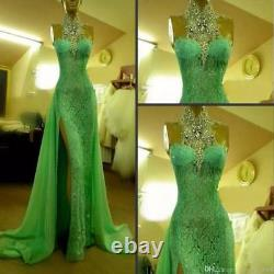 Crystal Lace Split Mermaid Celebrity Pageant Evening Dress Long Party prom Gowns