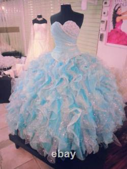 Crystals Colored Ball Gown Quinceanera Dresses Sweet 16 Formal Pageant Prom Gown