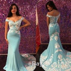 Elegant Off Shoulder Mermaid Evening Dress Long Pageant Party Prom Formal Gowns