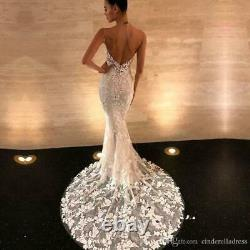 Embroidery Lace Mermaid Wedding Dresses Backless Bridal Gowns Sleeveless Dress