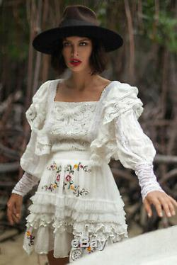 Fillyboo I Picture You Embroidered Mini Dress, White Lace, NWT, XS