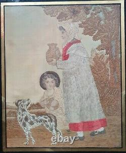 Fine Georgian Silk and Needlework Picture. Woman, Child and dog
