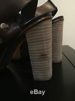 Free People Picture This Leather Brown Mustard Sandals Heels EUR 40 US 9.5 $228