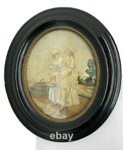 Georgian Silkwork Embroidered Framed Picture Women With Baskets Antique