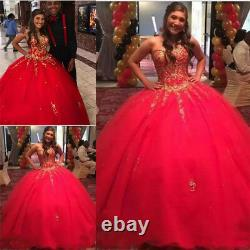 Girls Sweet 16 Red Quinceanera Dresses with Gold Appliques Formal Ball Prom Gown