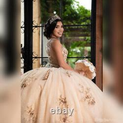 Gold Ball Gown Quinceanera Dresses Beaded Evening Party Dress Sweet 16 Dress New