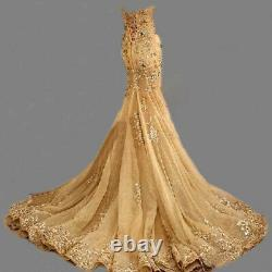 Gold Mermaid Evening Dresses Long Beaded Party Prom Pageant Formal Gowns Sequins