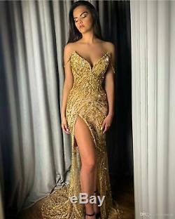 Gold Mermaid Prom Dress Sweet Bead Sequin Split Sexy Party Pageant Evening Gown