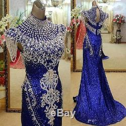 Gorgeous Crystal Mermaid Formal Pageant Prom Party Evening Dress Celebrity Gown