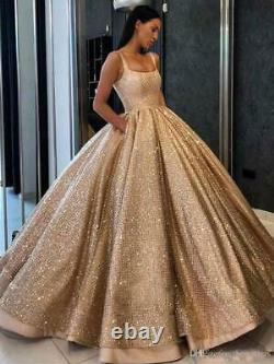 Gorgeous Gold Ball Gown Quinceanera Dresses Beaded Party Prom Sweet 16 Dresses