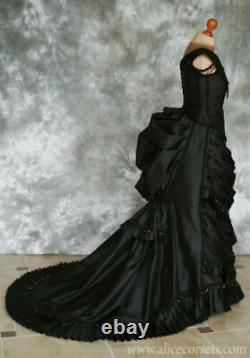 Gothic Black Evening Dresses Crystals Vintage Formal Prom Gown Ruffle Cap Sleeve