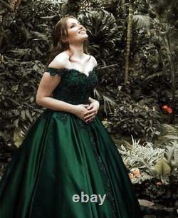 Green Sweet 16 Quinceanera Dresses Off Shoulder Beads Crystals Prom Ball Gown