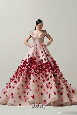 High Quality Prom Dresses Off Shoulder 3D Applique Beaded Quinceanera Ball Gown