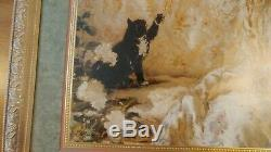 Home Interiors # 13664 Woman, Cat, Pearls Picture New in Box 34.5 X 28