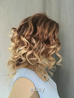 Hot Sale Mixed Color Bob Hairstyle Wavy 100% Human Hair Lace Wig 12 Inches