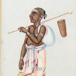 Indian School painting on Mica Hindu Bazaar woman antique late 19th century #6