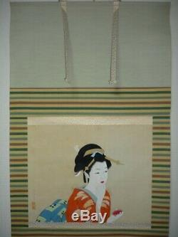 JAPANESE PAINTING HANGING SCROLL JAPAN BEAUTY WOMAN LADY Old PICTURE 228p