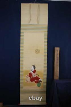 JAPANESE PAINTING HANGING SCROLL JAPAN BEAUTY WOMAN LADY VINTAGE PICTURE 287i