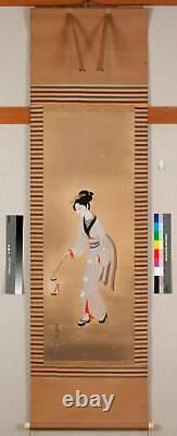 JAPANESE PAINTING HANGING SCROLL JAPAN BEAUTY WOMAN LADY VINTAGE PICTURE d257