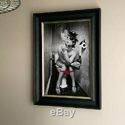 LARGE PARTY GIRL ON TOILET SEAT SMOKING MODERN LIQUID WALL ART framed DIRTY LADY
